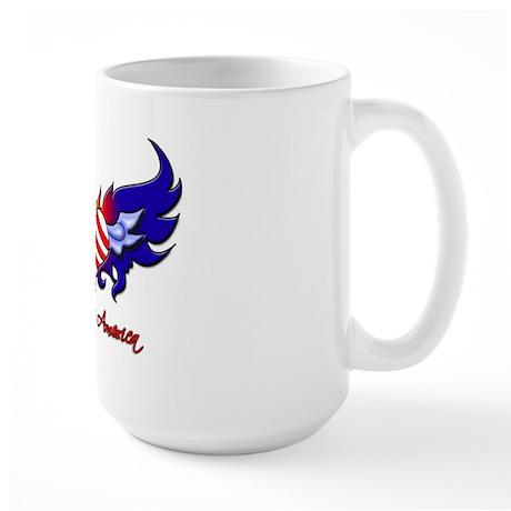 God Bless America Heart Flag2 Large Mug