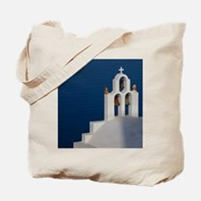Santorini. Bell tower and church in neigh Tote Bag