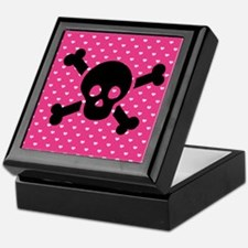 Black Skull and Hearts Keepsake Box