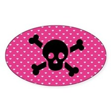 Black Skull and Hearts Oval Decal