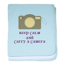Keep calm and carry a camera baby blanket