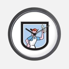Plasterer Masonry Worker Shield Cartoon Wall Clock