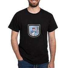 Plasterer Masonry Worker Shield Cartoon T-Shirt
