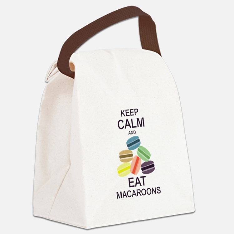 Keep Calm Eat Macaroons Canvas Lunch Bag