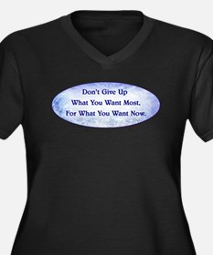 DON'T GIVE U Women's Plus Size V-Neck Dark T-Shirt