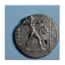 Greece. Slinger. Greek. Coin of Pamph Tile Coaster