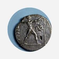"Greece. Slinger. Greek. Coin of Pamphy 3.5"" Button"