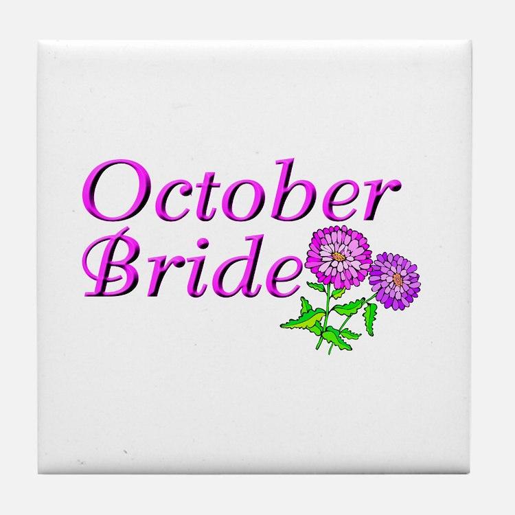 October Bride Tile Coaster