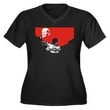 Lenin Plakat Women's Plus Size V-Neck Dark T-Shirt