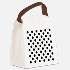 Black and White Polka Dots Canvas Lunch Bag