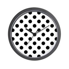 Black and White Polka Dots Wall Clock