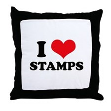 I Love (Heart) Stamps Throw Pillow