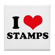I Love (Heart) Stamps Tile Coaster