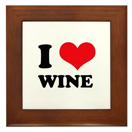 I Love (Heart) Wine Framed Tile