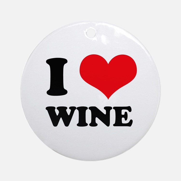 I Love (Heart) Wine Ornament (Round)