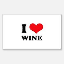 I Love (Heart) Wine Rectangle Decal