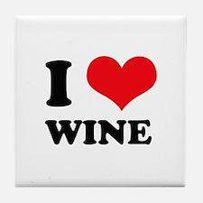 I Love (Heart) Wine Tile Coaster