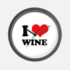 I Love (Heart) Wine Wall Clock
