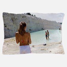 Tourists on travertine rocks, Pamukkal Pillow Case