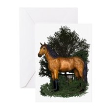 Buckskin Horse in Woodland Greeting Cards