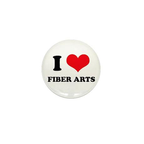 I Love (Heart) Fiber Arts Mini Button