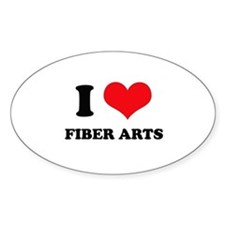 I Love (Heart) Fiber Arts Oval Decal