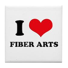 I Love (Heart) Fiber Arts Tile Coaster