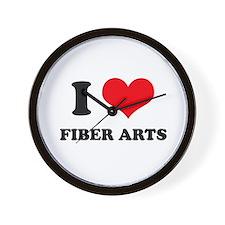 I Love (Heart) Fiber Arts Wall Clock