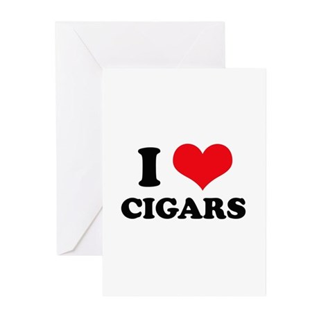 I Love (Heart) Cigars Greeting Cards (Pk of 10