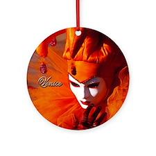 Orange Carnival Mask Ornament (Round)