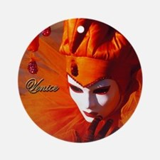 Orange Carnival Mask Ornament (Round)