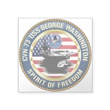 "CVN-73 USS George Washingto Square Sticker 3"" x 3"""