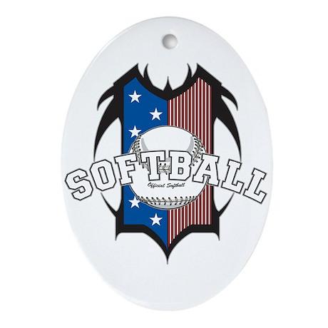 Tribal Softball Oval Ornament