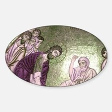 Christ washing feet of the Disciple Sticker (Oval)