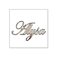 "Gold Alysa Square Sticker 3"" x 3"""
