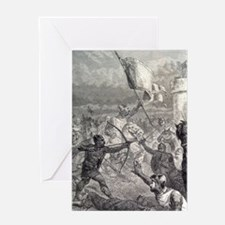 Normans battle at castle, England. 1 Greeting Card