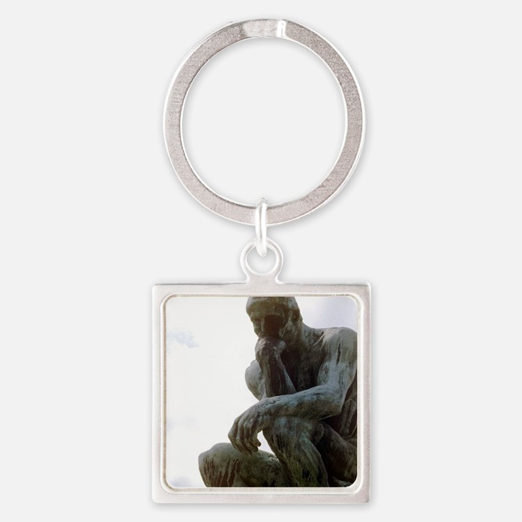 The Thinker. By Rodin. 1906. Franc Square Keychain
