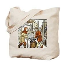 Smith at work with forge. 1499. Engraving Tote Bag