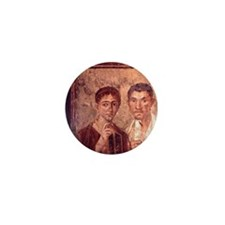 Fresco from Pompeii. Portrait of a man Mini Button