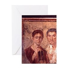 Fresco from Pompeii. Portrait of a m Greeting Card