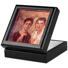 Fresco from Pompeii. Portrait of a ma Keepsake Box