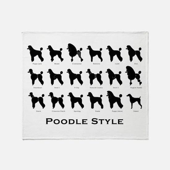 Poodle Pattern Black (large) Throw Blanket