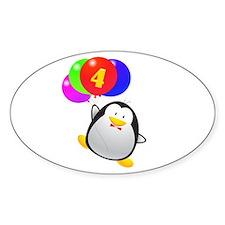 Penguin 4th Birthday Decal