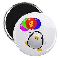 Penguin 4th Birthday Magnet