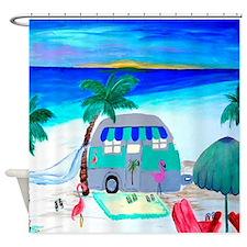 Airstream Beach Camper Shower Curtain