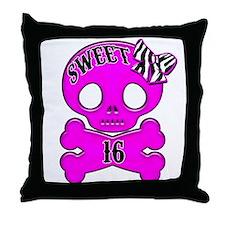 Sweet 16 Skull Throw Pillow