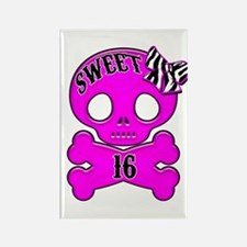 Sweet 16 Skull Rectangle Magnet