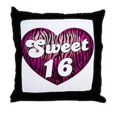 Sweet 16 Zebra Heart Throw Pillow