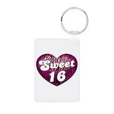 Sweet 16 Zebra Heart Keychains