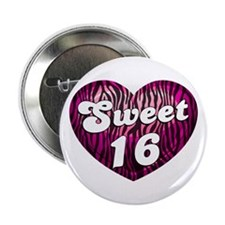 "Sweet 16 Zebra Heart 2.25"" Button"